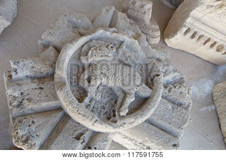 Some Greek Bas Depicting A Goat Found In The Excavations In Cyprus