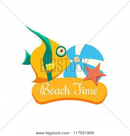 Beach Time Vacation. Vector Illustration