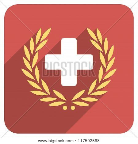 Medical Glory Flat Rounded Square Icon with Long Shadow