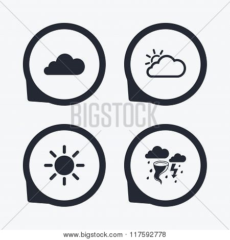 Weather icons. Cloud and sun. Storm symbol.