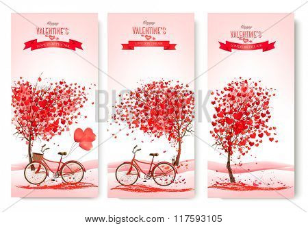 Three valentine's day banners with pink trees and bikes. Vector.