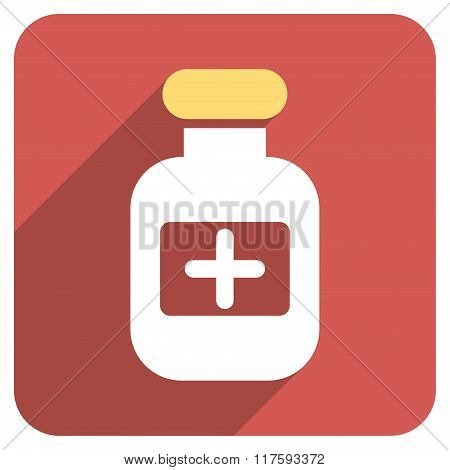 Drugs Bottle Flat Rounded Square Icon with Long Shadow