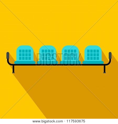 Airport seats flat icon