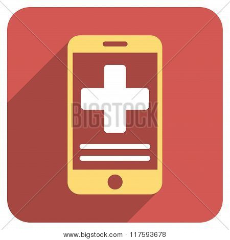 Online Medical Data Flat Rounded Square Icon with Long Shadow