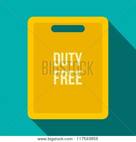 Duty free bag flat icon