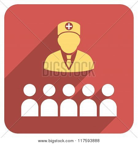 Doctor Class Flat Rounded Square Icon with Long Shadow
