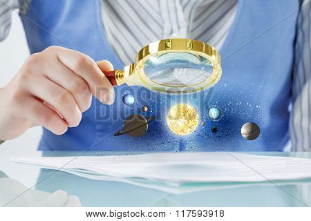 Person exploring planets of space