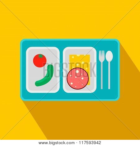 Airplane lunch flat icon
