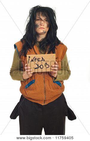 Beggar Woman Holding Cardboard