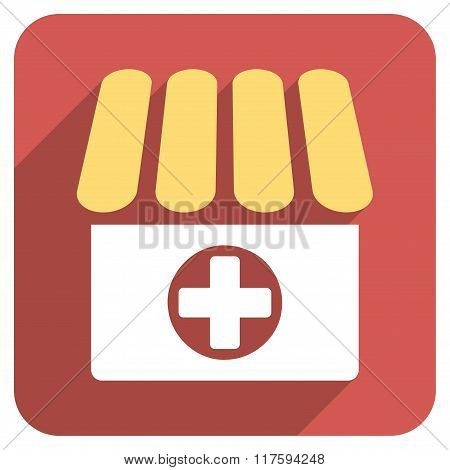 Drugstore Flat Rounded Square Icon with Long Shadow
