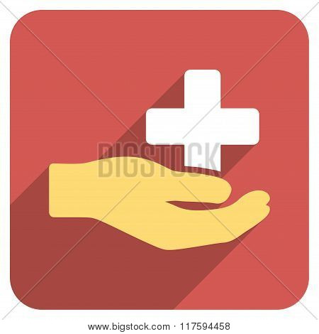 Health Care Donation Flat Rounded Square Icon with Long Shadow