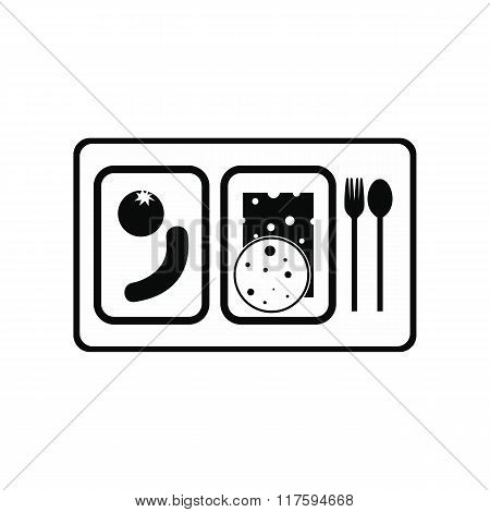 Airplane lunch black simple icon