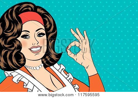 Pop Art Cute Retro Woman In Comics Style With Ok Sign