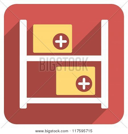 Medical Warehouse Flat Rounded Square Icon with Long Shadow