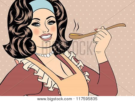 Pop Art Retro Woman With Apron Tasting Her Food