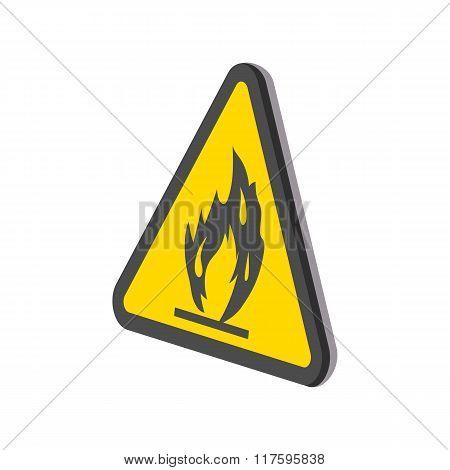 Fire warning sign cartoon icon