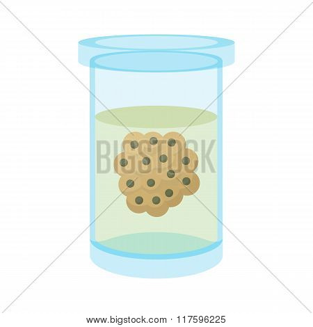 Embryos in laboratory flask cartoon icon