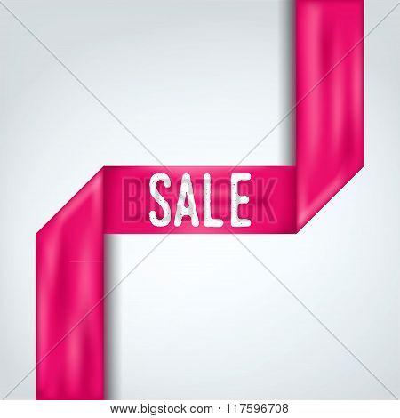 Sale banner. Vintage pink ribbon