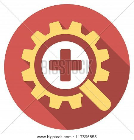 Find Medical Technology Flat Round Icon with Long Shadow