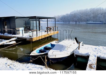 Pontoons and boats on the river Borcea