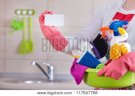 House Cleaner With Business Card