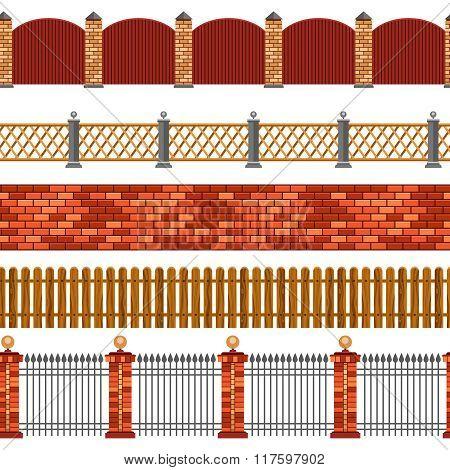 Fence Seamless Border Set