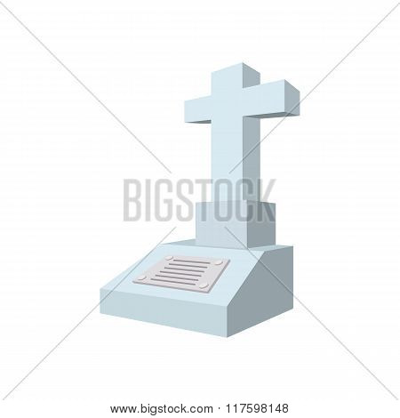 Cross tombstone cartoon icon