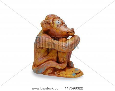 Dreamy Monkey  From Clay Pottery Isolated On White