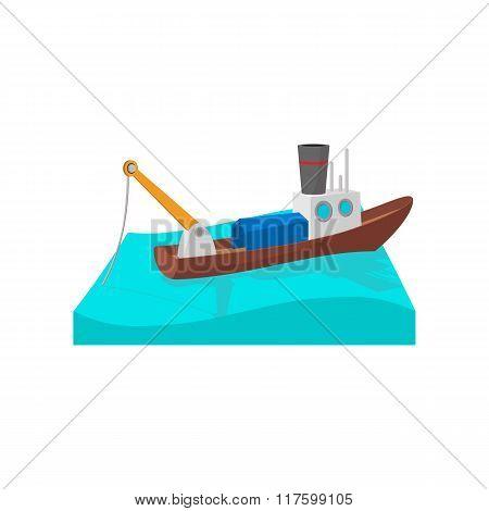 Fishing boat cartoon icon