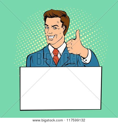 Advertising man with banner place for text. Businessman gives thumb up  retro comics style