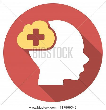 Medical Idea Flat Round Icon with Long Shadow