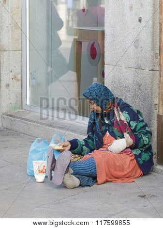 The Impoverished And Sick Woman In Madrid