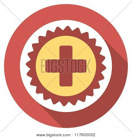 Medical Stamp Flat Round Icon with Long Shadow