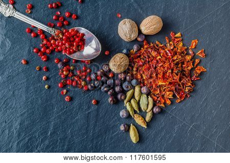 Top View Of Spices And Hot Peppers