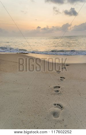 Footprints in the sand going to the sea