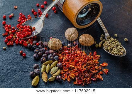 Mix Spices On Stone Texture Background