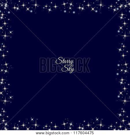 Starry frame on dark blue background