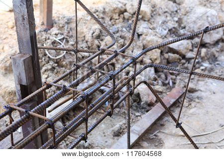 Photo of foundation steel rod for home building