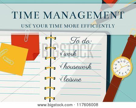 Time Management Banner. Vector Concept Background.