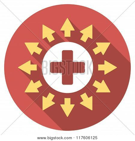 Pharmacy Distribution Flat Round Icon with Long Shadow