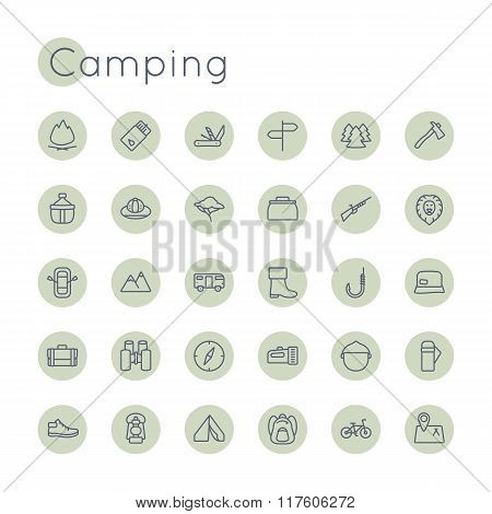 Vector Round Camping Icons