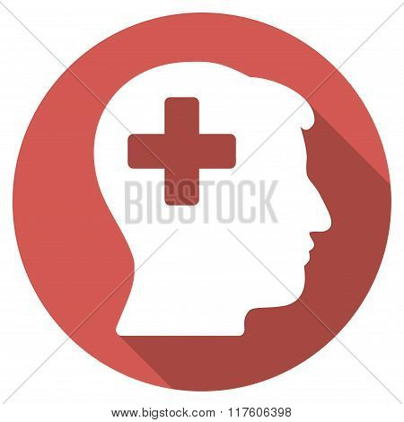 Plus Man Head Flat Round Icon with Long Shadow