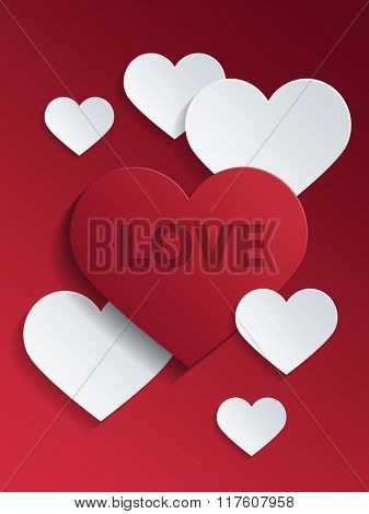Red and White Heart Shapes with Love Text for Valentines Day Concept Design. 3d Rendering.