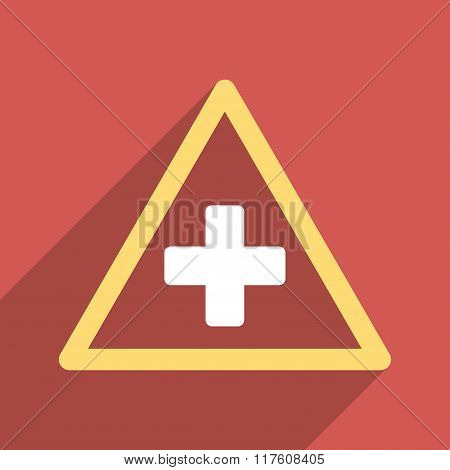 Health Warning Triangle Flat Square Icon with Long Shadow