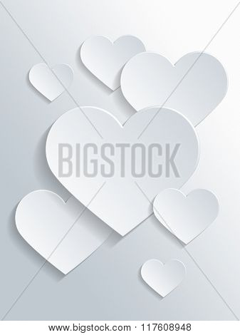 Assorted White Heart Shapes with Copy Space for Valentines Day Concept Design. 3d Rendering.