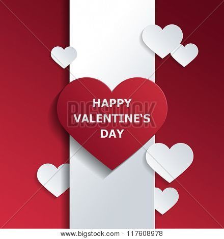 Simple Design of Happy Valentines Day Concept with Red and White Hearts on a Vertical Banner. 3d Rendering.