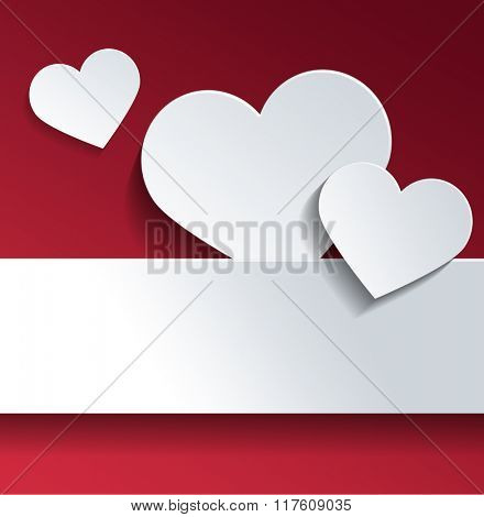 Conceptual White Heart Shapes with Copy Space Against Sky Red Background for Valentines Day Celebration. 3d Rendering.