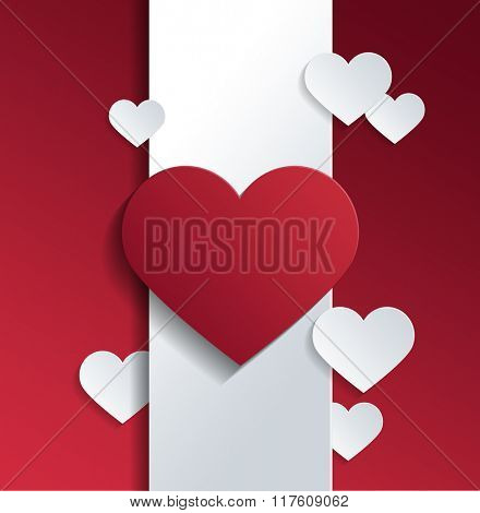 Empty Heart Shapes on White Banner Against Red Background for Valentines Day Concept. 3d Rendering.