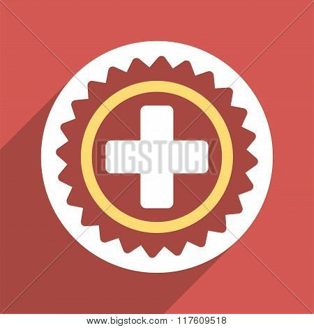 Medical Stamp Flat Square Icon with Long Shadow