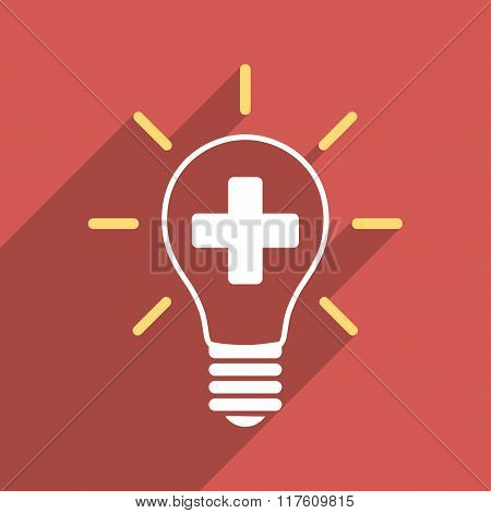 Creative Medicine Bulb Flat Square Icon with Long Shadow